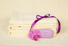 The bathing accessories decorated with flower Stock Photos