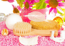 Bathing accessories and Echinacea flowers Stock Photo