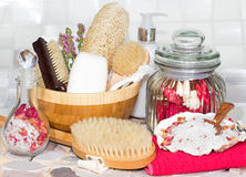 Bathing accessories for a luxury spa treatment Royalty Free Stock Image
