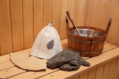 Bathing accessories in a sauna Stock Image