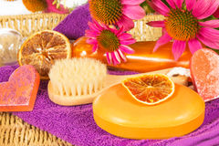 Bathing accessories and spa treatments Stock Photography