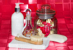 Bathing accessories still life Stock Photo