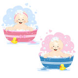 Bathing babies Stock Photo