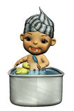 Bathing Baby. 3d render of Bathing Baby Royalty Free Stock Photography