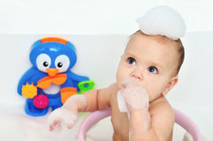 Bathing baby Royalty Free Stock Photography