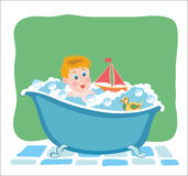 Bathing baby in tub with toys. Vector graphic image. Stock Photography
