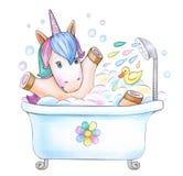 Bathing baby unicorn. Bathing baby unicorn, isolated on white Royalty Free Stock Photo