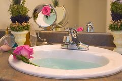 Bathing Beauty. Soft pink rose bathing in blue water basin, petals reflected in mirror Stock Image