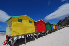 Bathing box colours. Saturated colours of bathing boxes along Muizenberg coastline, Cape Town Royalty Free Stock Image