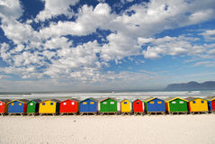Bathing Box panarama. Row of colorful bathing boxes along Cape Town shore line Stock Photography