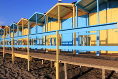 Bathing boxes on the beach Stock Photography