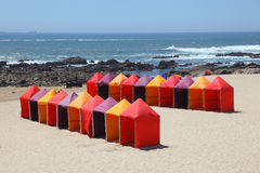 Bathing boxes at the beach Stock Images