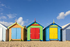 Bathing boxes in a beach with copyspace Royalty Free Stock Photos