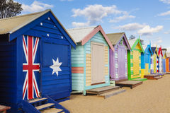 Bathing boxes in a beach with copyspace Royalty Free Stock Photo
