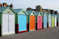 Bathing boxes on Brighton Beach, Engalnd, UK Stock Photos
