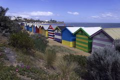 Bathing Boxes at Brighton Beach stock image
