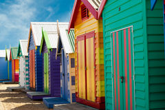 Bathing boxes on brighton beach - Melbourne - Aust Stock Photos