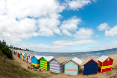 Bathing boxes on brighton beach - Melbourne - Aust Royalty Free Stock Images