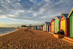 Bathing boxes at Brighton Beach, Melbourne Stock Images