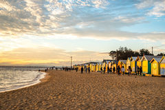 Bathing boxes at Brighton Beach, Melbourne Royalty Free Stock Photography