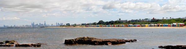 Bathing boxes on brighton beach - Melbourne - Oz Stock Photo