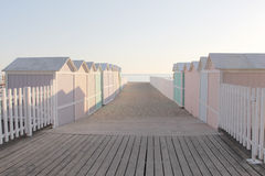 Bathing boxes, early morning, empty. The soft colours of some bathing boxes at the beach of mondello, near palermo, sicily, picture taken early in the morning Royalty Free Stock Images