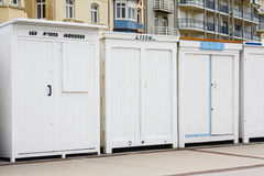 Bathing boxes in France. Blue and white bathing boxes at Wimereux, North, France Royalty Free Stock Photo