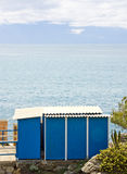Bathing closed in winter. The cabins of the bathing establishments abandoned in the winter until the summer stock photos