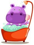 Bathing cute hippopotamus Stock Photo