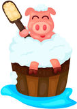 Bathing cute pig vector illustration