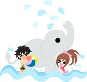 Bathing with an elephant Stock Images
