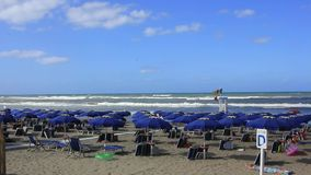 Italian beach with rocky sea-Extreme Wide Shot stock footage