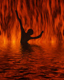 Bathing on fire Stock Photo