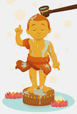 Bathing Golden Statue of Child Buddha in Vesak, Vector Illustration Royalty Free Stock Image