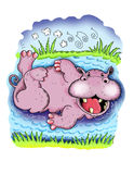 Bathing Hippopotamus. A cartoon hippopotamus enjoying a relaxing bath Stock Photos