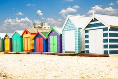 Bathing houses on Brighton beach in Melbourne, Australia. stock images