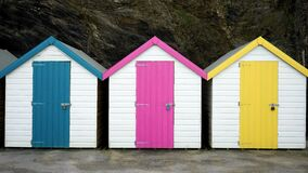Bathing huts at bottom of cliff