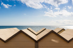 Bathing huts in Follonica waterfront, Italy Stock Images