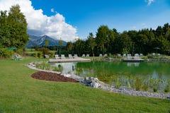 Hotel Sonnenalp, bathing Lake of Hotel and Resort Sonnenalp, Allgau, Bavaria, Germany stock image