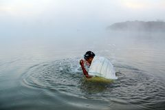 Bathing in Morning at Festival of Chhath Puja royalty free stock photos