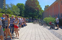 Bathing in Munich, long queue to the swimming baths Royalty Free Stock Images