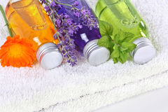 Bathing oil, calendula, lavender, melissa Royalty Free Stock Images