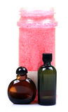 Bathing oil and salt bottles Royalty Free Stock Image
