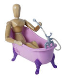 Bathing in Pink Claw footed bathtub Royalty Free Stock Image