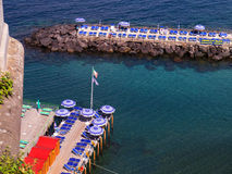 Bathing Platforms at Sorrento. Sorrento has no beach so bathing platforms are used for swimming and sunbathing over the sea royalty free stock photography