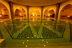 Bathing pool inside of Hammam turkish bath Stock Photos