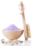 Bathing salt and brush Royalty Free Stock Photography