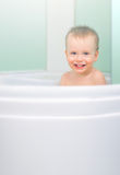 Bathing in shower cubicle Stock Images