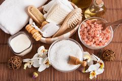 Bathing spa kit with sea salt Royalty Free Stock Photo