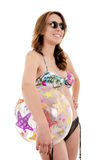 Bathing suit beach ball woman. This image has attached release royalty free stock photo
